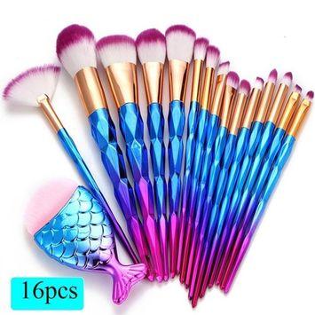 Brushes Set - Fheaven 2018 Newest 16PCS Make Up Fan Brush Foundation Brush Eyebrow Brush Eyeliner Blush Brush Cosmetic Concealer Brushes