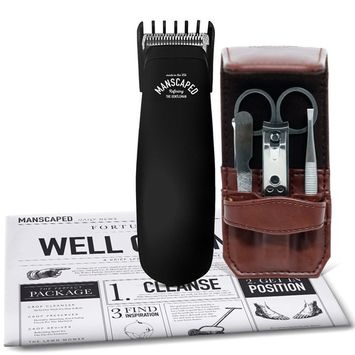 Men's Bathroom Toiletry Grooming Tools, Includes High performance, electric Manscaping Trimmer and Stainless steel, 5 piece Nail Kit plus Free Disposable Shaving Mats