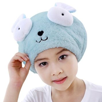Absorbent Cartoon Hair Drying Cap Microfiber Quickly Drying Towel Soft Fast Dry Hair Wrap Turban Drying Towel Cute Animal Shower Bathing Cap Tool with Elastic for Unisex Boys Girls Kids Toddlers