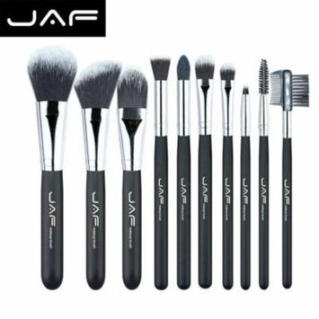 10PCS/SET Professional Cosmetic Makeup Brushes Set Wooden Handle Nylon Hair Bulsh Powder Foundation Eyeshadow Brush, 10 nylon hair brush set