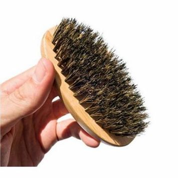 PaZinger Men Boar Hair Bristle Beard Mustache Brush Palm Soft Round Wood Handle