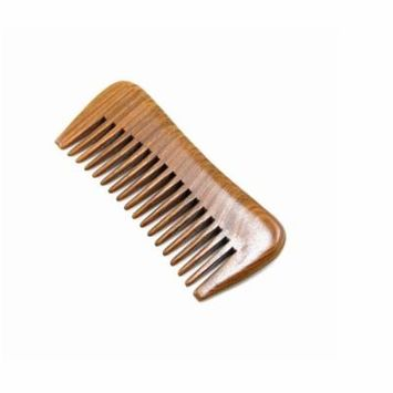 PaZinger Handmade Natural Green Sandalwood Wide Tooth Comb, No Static Pocket Wooden Comb