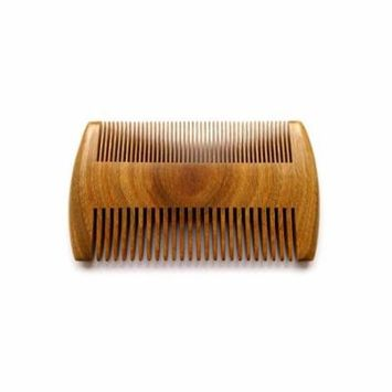 PaZinger Wooden Beard Comb No Static Natural Fragrance Double Different Densities Green Sandalwood Handmade Comb, Pocket Comb For Beards & Mustaches Hair