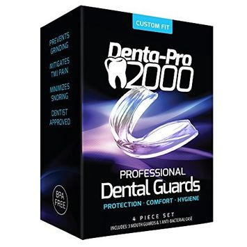 DentaPro2000 Teeth Grinding Mouth Guard Eliminates Grinding, Clenching, TMJ Set Includes 3 Dental Guards,1 Anti-Bacterial Case & Complete Molding & Fitting Instructions
