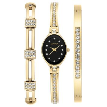 Armitron - Armitron Women's 3 Piece Gold-Tone Bracelet and Watch Box Set