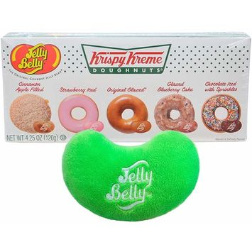 Jelly Belly Jelly Beans Krispy Kreme Doughnuts By The Cup Gift Set, 4.25 Ounce Gift Box - with Jelly Bean Emoji Mini Plush Toy