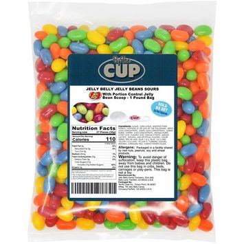 Jelly Belly Jelly Beans - Sours 1 Pound Bag - with By The Cup Portion Control Jelly Bean Scoop