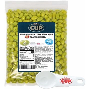 By The Cup Set - Jelly Belly Jelly Beans Bulk Juicy Pear 1 Pound Bag With By The Cup Portion Control Scoop