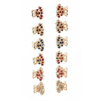 Yeshan Pack of 12pcs Butterfly Metal Mini Claw Clip,with Rhinestone and Crystal Beaded Barrette Jaw Hair Clip,golden