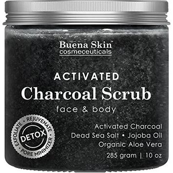 Activated Charcoal Scrub by Buena Skin   Deep Cleanser, Pore Minimizer & Reduces Wrinkles, Blackheads, Acne Scars, Anti Cellulite Treatment - Great for Face & Body 10 oz.