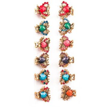 Yeshan Pack of 12pcs Vintage Heart Pattern Metal Mini Claw Clip Hair clamp,Rhinestone and Crystal Beaded Jaw Hair Clip