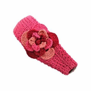 Coral Headband With Tri-Color Flower