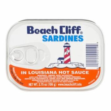 (4 Pack) Beach Cliff Sardines in Louisiana Hot Sauce, Gluten Free Food, High Protein Snacks, 3.75oz Can