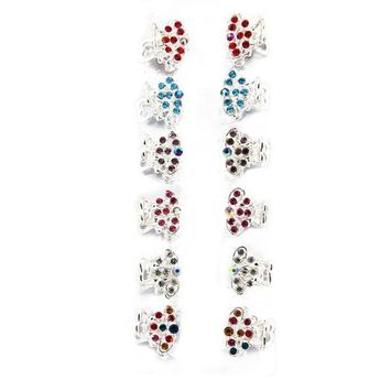 Yeshan Pack of 12pcs Butterfly Mini Claw Clip,with Rhinestone and Crystal Beaded Barrette Jaw Hair Clip,silver