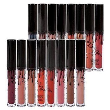 Richoose 16 Colors Set Waterproof Liquid Makeup Lip Pencil Matte Lipstick Lip Gloss Super Long Lasting (16 Pcs)