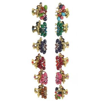 Yeshan Pack of 12pcs No-slip Grip Vintage Alloy Mini Jaw Clip ,Rhinestone and Crystal Beaded Barrete Claw Hair Clip ¡­