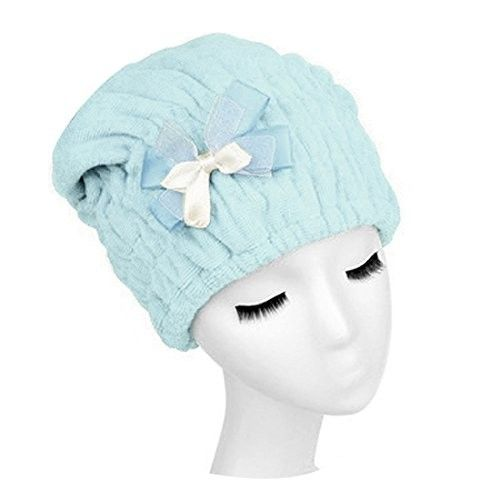 uxcell Blue Ribbon Bow Tie Dry Hair Magic Drying Wrapping Hat Bathing Spa Cap