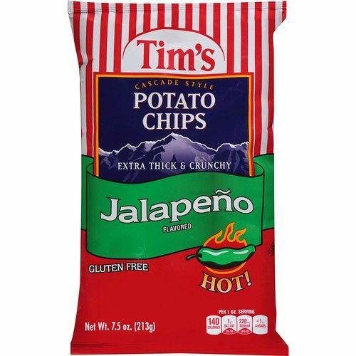 Tim's Cascade Style Potato Chips, Jalapeno, 7.5 Ounce [Jalapeno]