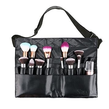 Makeup Brush Bag Professional Cosmetic Holder 28 Pockets Organizer with Artist Belt Strap (Brushes Not Included) by S'agapo