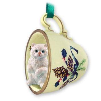 GTCC08 CON White Persian Tea Cup Green Holiday Ornament