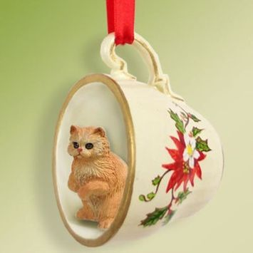 No.Tcc09 Red Persian Tea Cup Red Holiday Ornament
