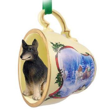 Belgian Tervuren Tea Cup Sleigh Ride Holiday Ornament