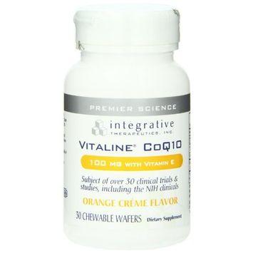 Integrative Therapeutics - Vitaline CoQ10 - 100 mg CoQ10 with Vitamin E - Supports Heart & Brain Health - Orange Crème Flavor - 30 Chewable Wafers [Standard Packaging]