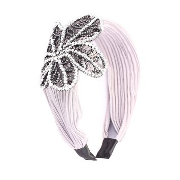 Great Gatsby / Flapper Inspired Handmade Fashion Headband / Hairband w Rhinestone Sequin Flower
