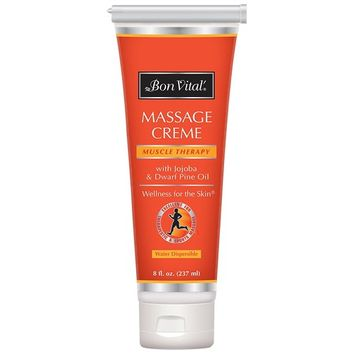 Bon Vital' Muscle Therapy Massage Crème, Professional Massage Cream with Dwarf Pine Oil & Essential Oils for Relaxation & Sore Muscle Relief, Deep Tissue & Sports Massage Techniques, 8 Ounce Tube