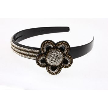 Great Gatsby Flapper Inspired Handmade Fashion Headband / Hairband with a Rhinestone Encrusted Elegant Flower
