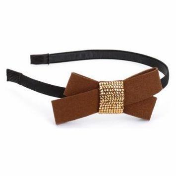 Great Gatsby / Flapper Inspired Handmade Bow Headband/HairBand with Rhinestone Center