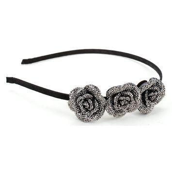 Great Gatsby/Flapper Inspired Handmade Three Rose Rhinestone Headband / Hairband