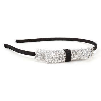 Great Gatsby / Flapper Inspired Handmade Rhinestone Bow Fashion Headband / Hairband