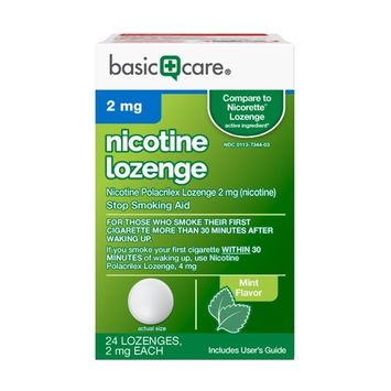Nicotine Lozenge 2mg, Stop Smoking Aid, Mint, 24 Count [2 mg]