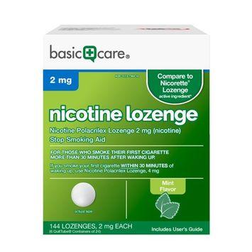 Basic Care Nicotine Lozenge, 2mg, Stop Smoking Aid, Mint, 144 Count [2 mg]