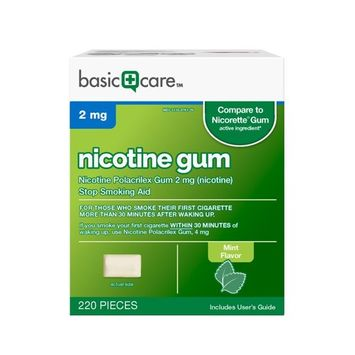 Basic Care Nicotine Gum, 2mg, Mint Flavor, 220 Count
