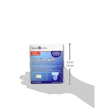 Basic Care Nicotine Gum, 4mg, Ice Mint Flavor, 160 Count []