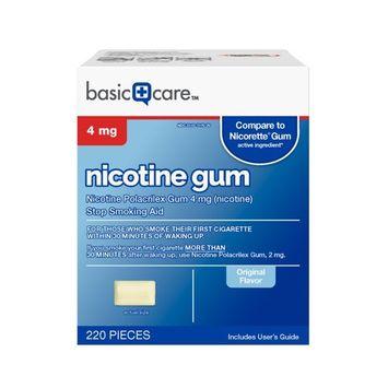 Basic Care Nicotine Gum 4mg, Stop Smoking Aid, Original, 220 Count