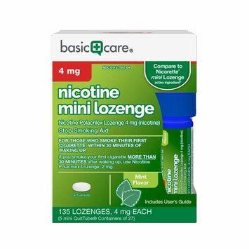 Nicotine Mini Lozenge 4 mg, Stop Smoking Aid, Mint, 135 Count