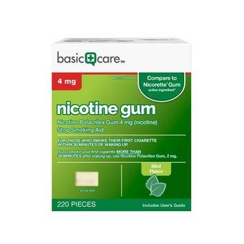 Basic Care Nicotine Gum, 4mg, Mint Flavor, 220 Count [4 mg]