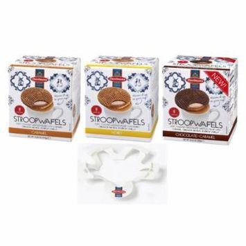 Daelmans Stroopwafels Wafers Variety Bundle Pack with Waffle Warmer (Caramel, Honey, Chocolate-Caramel) Jumbo Size (4-Piece Set)