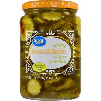 Mt. Olive Pickle Co Inc Great Value Zesty Bread & Butter Chips, 24 oz