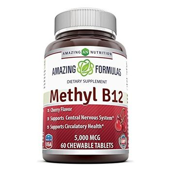 Amazing Nutrition Methyl B12 Dietary Supplement - 5000 mcg (Vitamin B12 (Methylcobalamin), 60 Chewable tablets - Supports Nervous System, Circulatory Health & Energy Metabolism