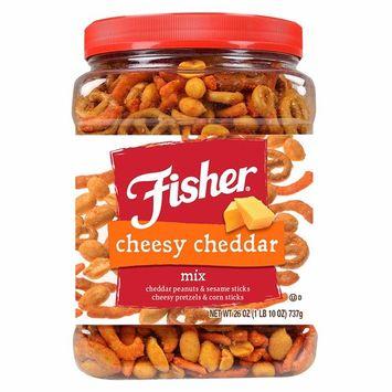 FISHER Snack, Cheesy Cheddar Mix, Cheesy Peanuts & Sesame Sticks, Cheesy Pretzels & Corn Sticks, 26 oz [Cheesy Cheddar Mix]