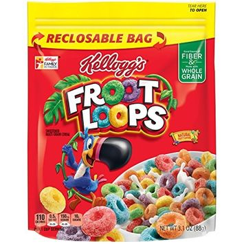 Froot Loops Kellogg's Loops Cereal with Reclosable Bag, 3.1 Ounce (Pack of 12)