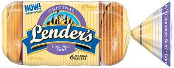 Lender's Frozen Original Cinnamon Swirl 6 Ct Bagels