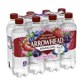 Arrowhead Sparkling Water, Triple Berry, 16.9 oz. Bottles (Pack of 8)
