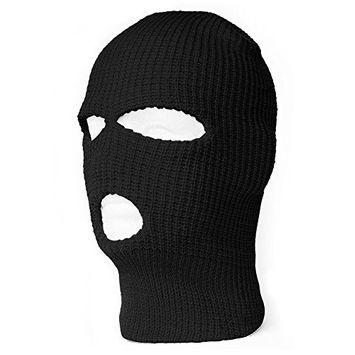 Pettstore Knit Caps Outdoor Full Face Cover Warm 3 Hole Ski Mask Shield Beanie Balaclava For Men Women