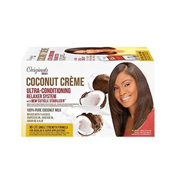 Africa's Best Coconut Creme Ultra-Conditioning Relaxer System with New Cuticle Stabilizer 100% Pure Coconut Milk No- Lye Single Strength for regular and Super Applications