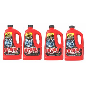 Drano Max Gel Clog Remover, 80 fl oz (Pack of 4) Made in USA Brand New and Fast Shipping